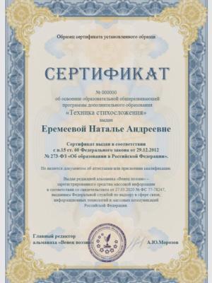 Программа дополнительного образования «Техника стихосложения»